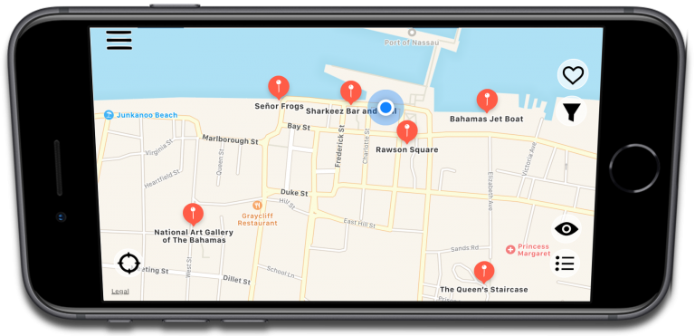 DUX Augmented Reality 2D Map Deal Finder View, with Perspective